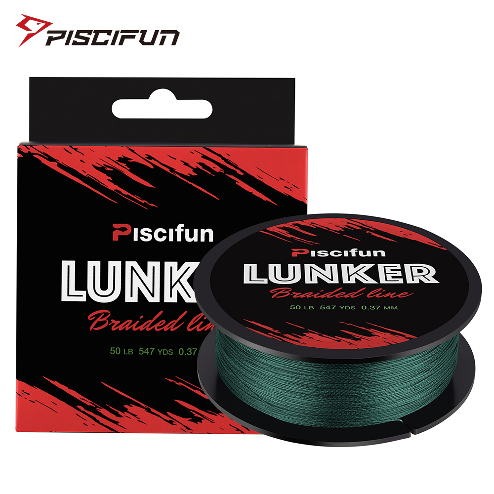 Piscifun Lunker 500M Fishing Line Braided Strong Netherlands PE Fiber 0.06-0.5mm 6-80LB 4 Strands Multifilament Fishing Line