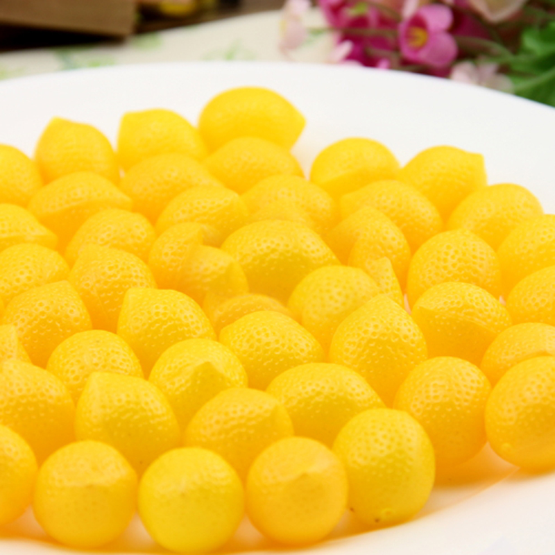 050 100pcs Simulation of small yellow lemon plastic fake lemon Mini Fruit imitation fruit decoration 2 9 2 3cm in Artificial Foods Vegetables from Home Garden