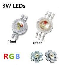 Светодиодный чип высокой мощности, 3 Вт, RGB, монолитный блок светодиодов, 3 Вт, световая лампа, 4/6 контактов, полноцветсветодиодный, красный, зе...