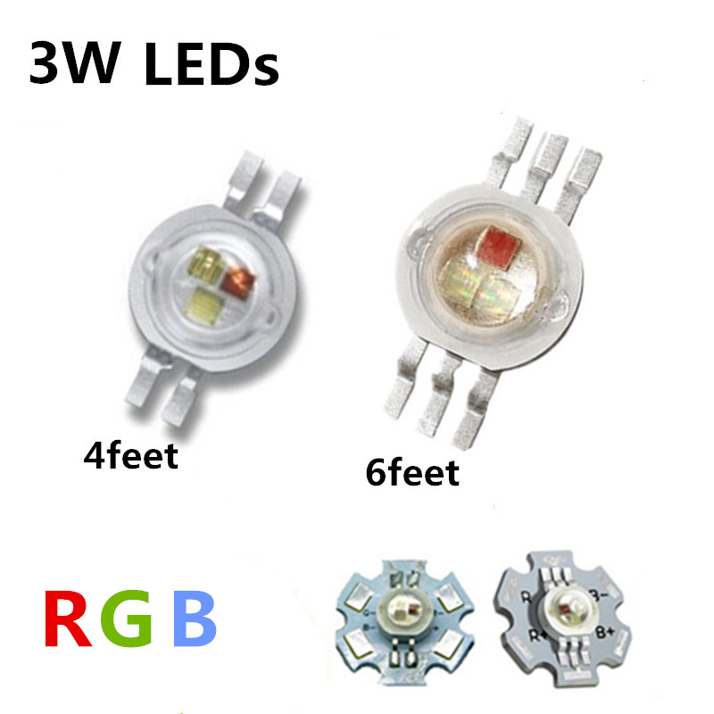 High Power LED Chip 3W RGB LED COB Beads 3 W Light Lamp 4pin/ 6 pin Full Color Red Green Blue For DIY LED Floodlight Spotlight