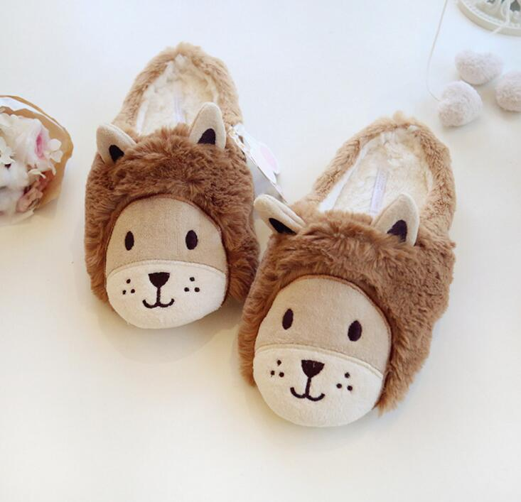 2017 new cartoon lion plush slippers warm winter home slippers cute plush autumn and winter cotton slippers plush