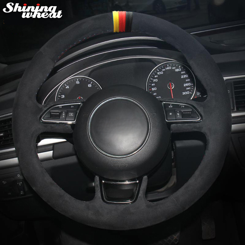 Shining wheat Yellow red black Marker Black Suede Car Steering Wheel Cover for Audi A1 A3 A5 A7 цена
