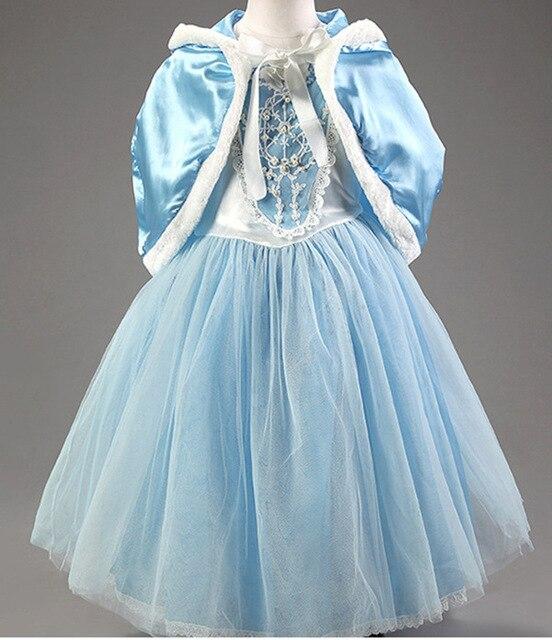 Pretty 2016 de Partido Largo Del Vestido de Las Muchachas Vestido Elsa Princesa Azul Con Chal Chlid Niños Muchachas Del Vestido de Partido de Dibujos Animados Traje # DA