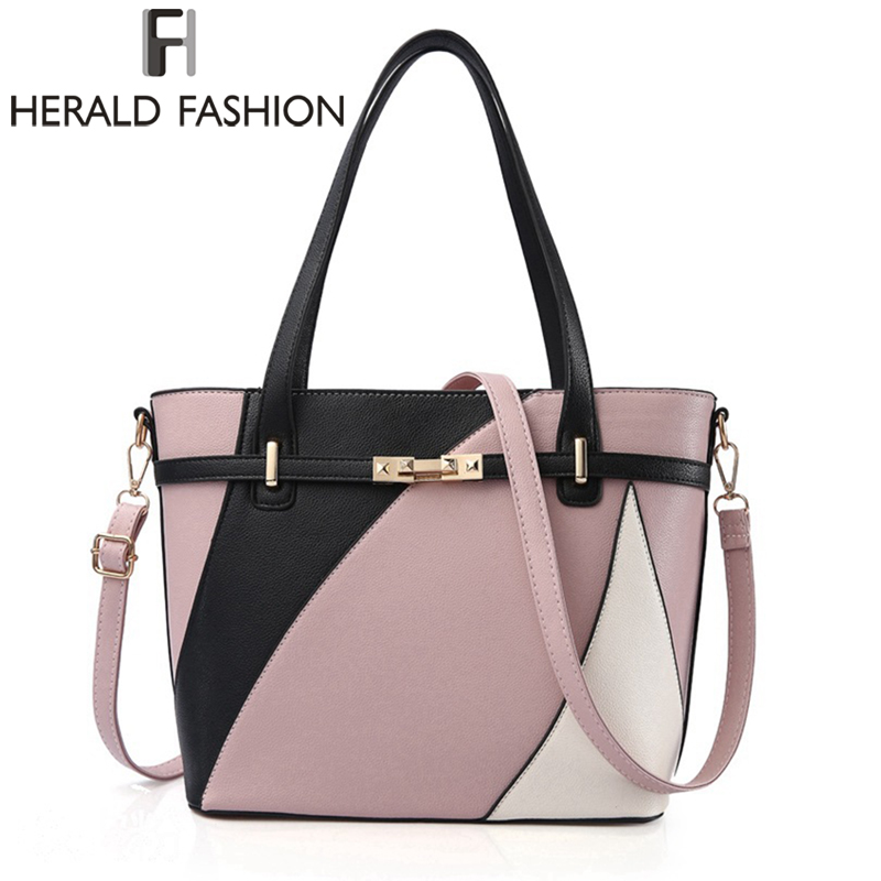 Herald Fashion Women Handbags Large Capacity Tote Bag High Quality PU Leather Shoulder Bag Causal Ladies Crossbady Bag woma engineering architecture education model urban engineering vehicles building blocks children toys compatible with legoe