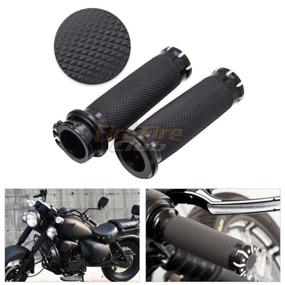 """1/"""" 25mm Black Handlebar for Harley Sportster Cruiser Motorbike Hand Grip Rubber"""