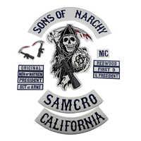 Fils de Patch Anarchy SOA Patch moto motard brodé Badge pour vêtements veste dos grande taille Punk et Rock emblème fer sur
