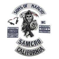 Sons von Patch Anarchy SOA Motorrad Patch Biker Bestickt Abzeichen für kleidung Jacke Zurück Große Größe Punk und Rock Emblem eisen Auf