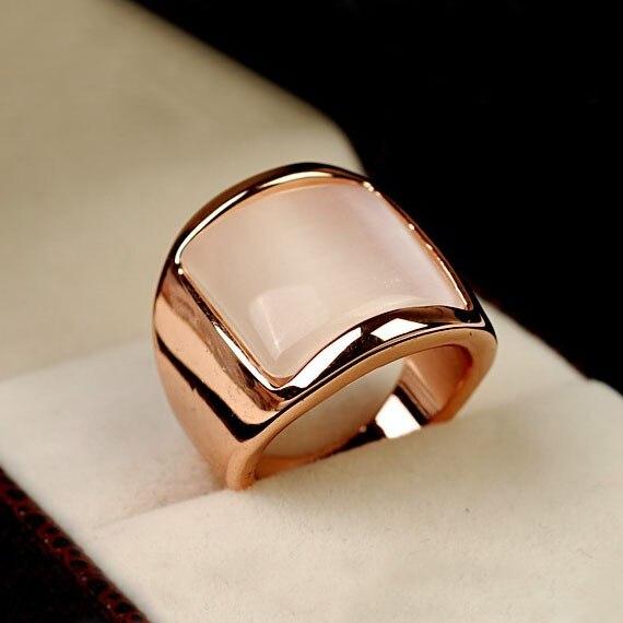 Mode Vintage Böhmen Großen Platz Breiten künstliche katzenauge Stein Ring Rose Gold Farbe Übertrieben Frauen Partei Schmuck