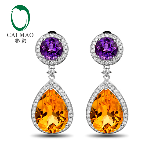 Caimao Jewelry 14KT White Gold 9.80ct Citrine 2.53ct Amethyst & 0.69ct  Diamond Engagement Earrings