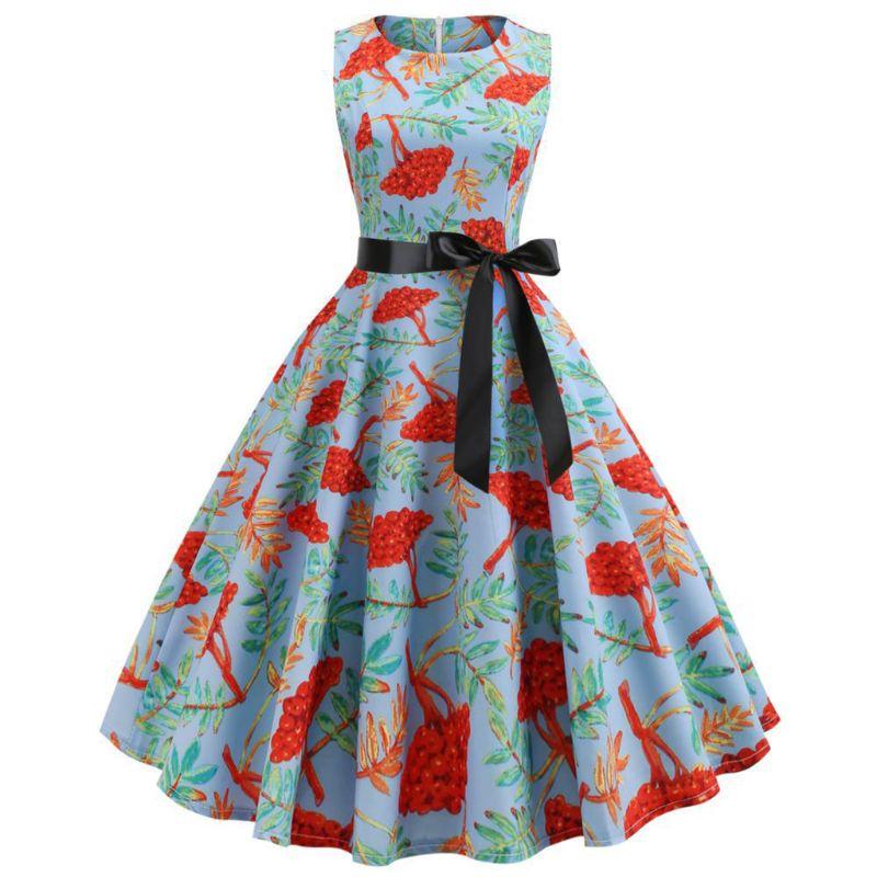 Женское винтажное Плиссированное вечернее платье без рукавов, вечерние платья Бохо с цветочным принтом, с поясом, с завышенной талией, с выр...