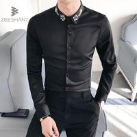 Zeeshant 2018 Good Patchwork Black Button Turn Down Collar Long Sleeve Business Formal Mens Dress Shirts