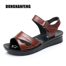 DONGNANFENG Donna Madre Vecchi sandali femminili Scarpe Cow Genuine Cuoio casuale PU Hook Loop Summer Beach Cool Size 35-41 HD-B01