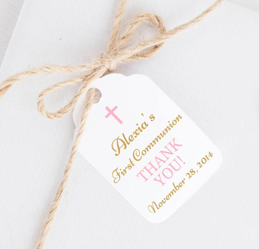 Cookie Tags Personalized Thank You Tags for Communion Favors Candy Tags First Communion Tags for Girls Party Favors
