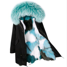 2017 Winter Jacket Women Brand Luxry Large Natural Raccoon Fur Real Fox Fur Liner Thick Warm Down Parkas For Female Army Green