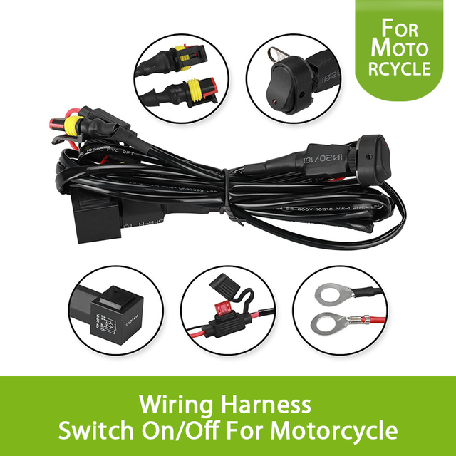 40A Universal Car Work Fog Light 12V Wiring Harness Switch OnOff