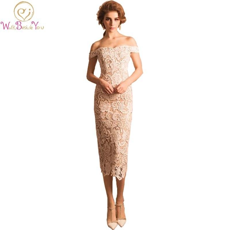 100% Real Image Avondjurken Lange Lace Evening Dresses Off the Shoulder Tea Length Formal Dresses Evening Wear Prom Gown Elegant