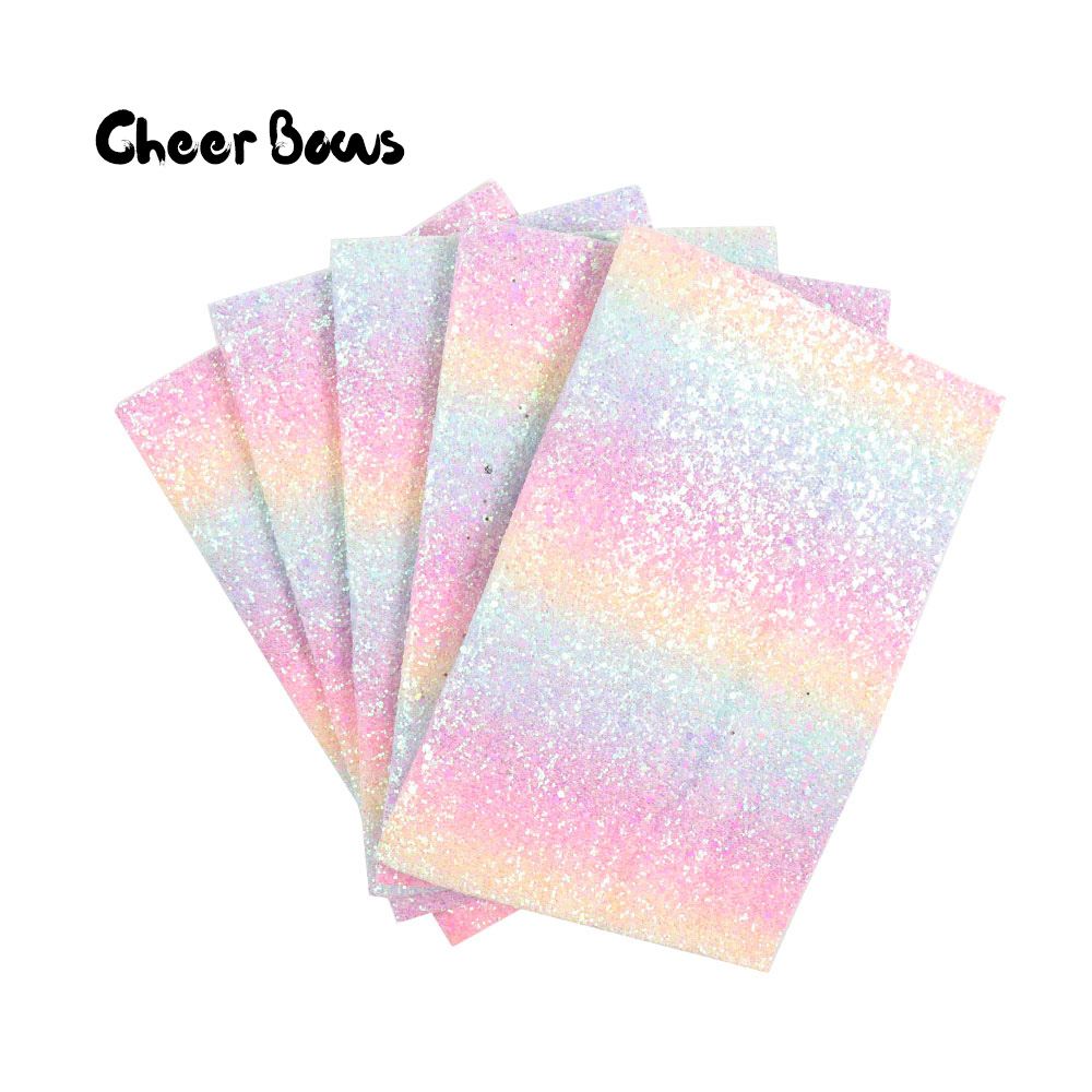 FROSTED RAINBOW CHUNKY GLITTER FABRIC SIZE A4  BOWS//CRAFTS CHOICE