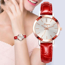 Best selling Women's Watches Red Leather Brand Strap Womens Watches