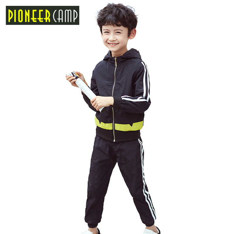 Pioneer Camp Kids 2017 4-16Y Baby Boys Spring Hoodied Coats And Jackets Pants Set Children Clothing Set Sports Suit For Boy