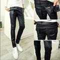 Покрытие мыть Slim fit черные узкие джинсы моды для мужчин 2015 человек весна дизайнер РОК Панк джинсы M-XXL