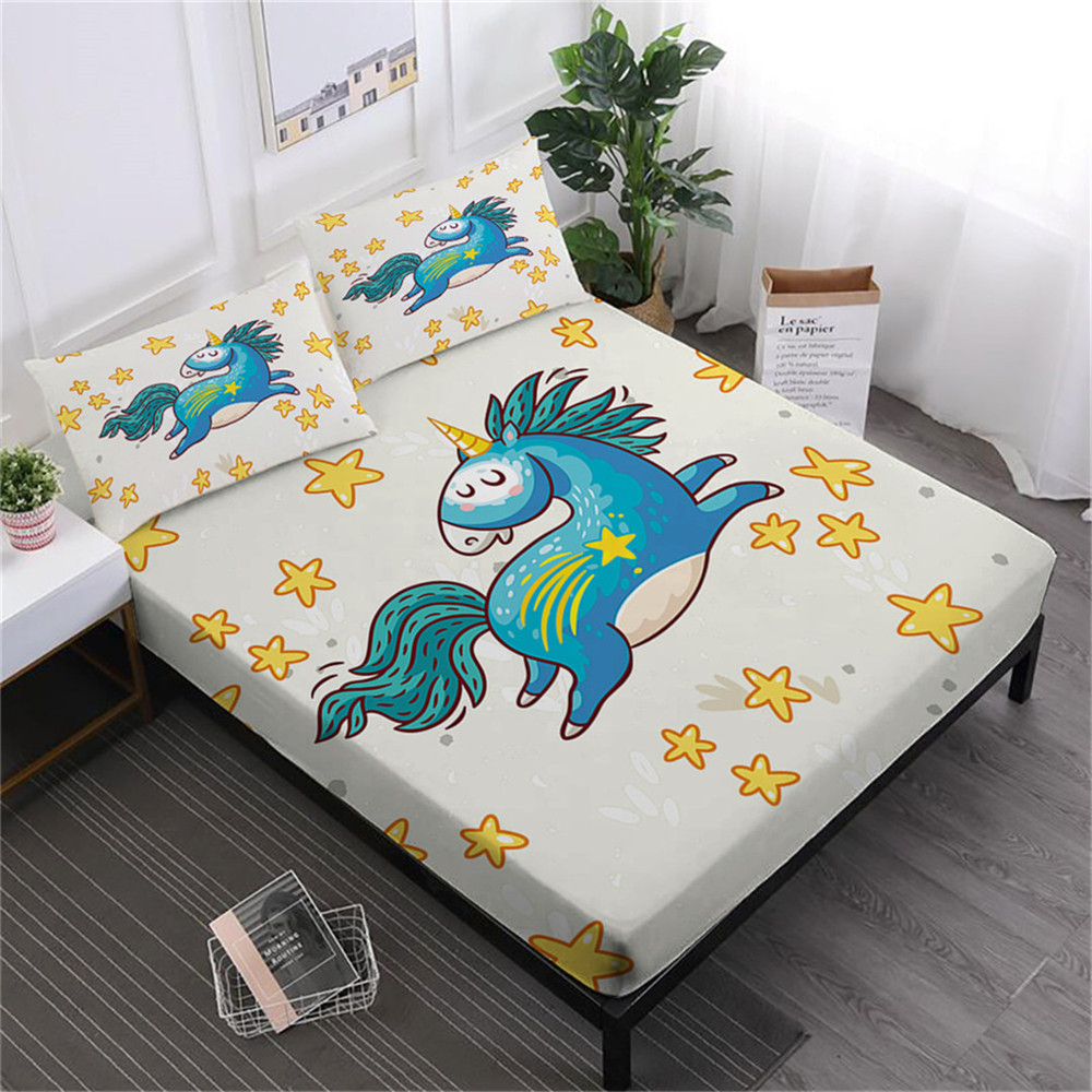 Sweet Cartoon Sheets Set Colorful Unicorn Series Bed Linens King Queen Fitted Sheet Pillowcase Elastic Band Mattress Cover D40Sweet Cartoon Sheets Set Colorful Unicorn Series Bed Linens King Queen Fitted Sheet Pillowcase Elastic Band Mattress Cover D40