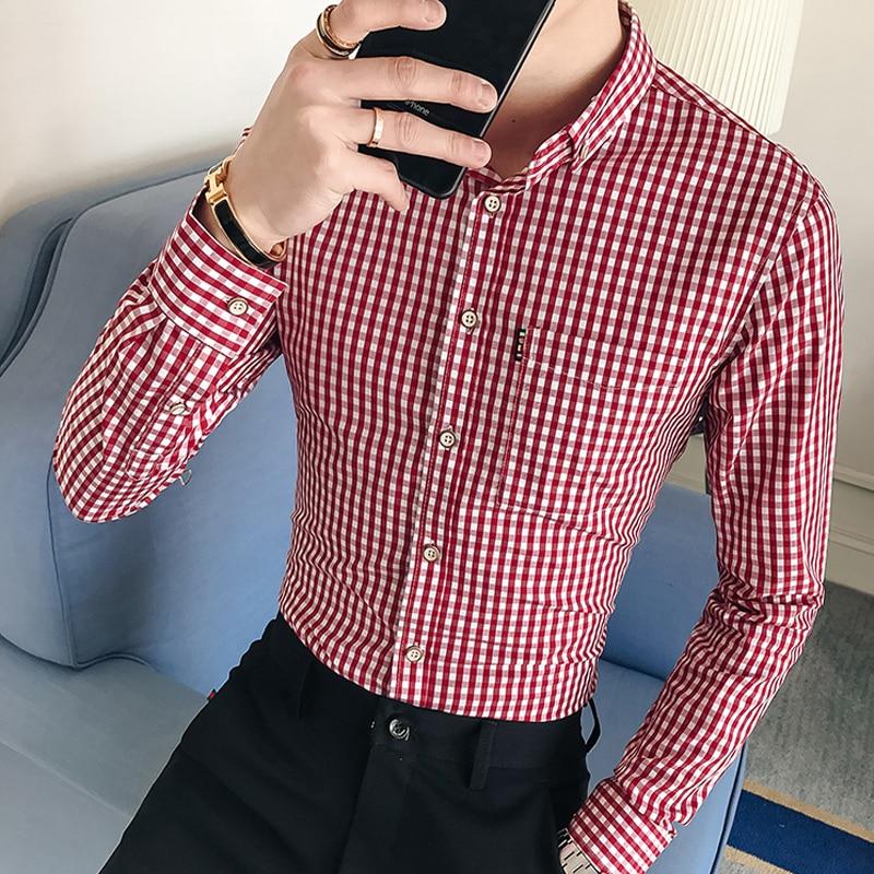 2019 Fashion Men Casual Long Sleeved Printed Shirt Slim Fit Male Social Business Dress Shirt Brand Men Clothing Soft Comfortable