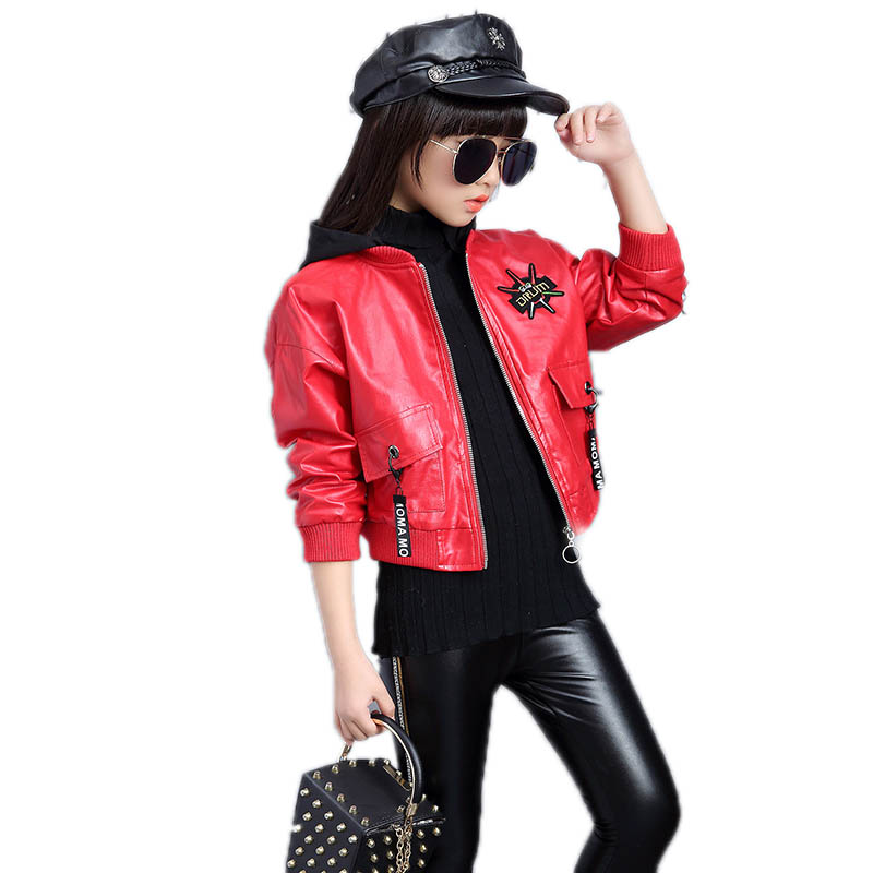 Baby Boys Girls Kids Outfits Spring Autumn PU Faux Leather Lapel Jacket Oblique Zipper Outerwear Coat
