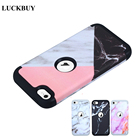 LUCKBUY Marble case For iPod touch 5 touch 6 Armor Case Shockproof Triple Layer Heavy Duty Hybrid Rubber Armor Hard Case