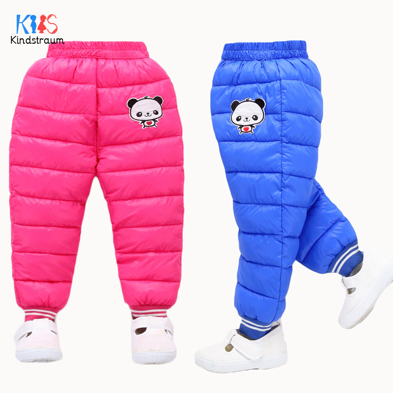 Kindstraum 2018 Winter Kids Cartoon Thick Pants Baby Open File Down Trousers Causal Full Length Wear for Kids,RC1634