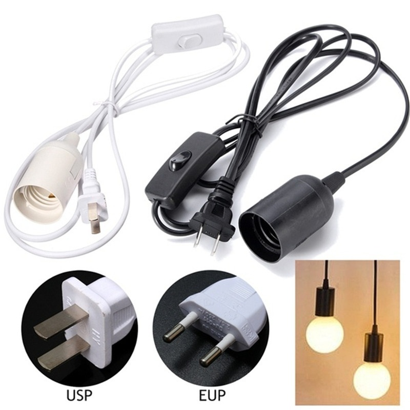 1.8m Power Cord Cable E27 Lamp Bases EU US Plug With Switch Wire For Pendant LED Bulb Hanglamp Suspension Socket Holder