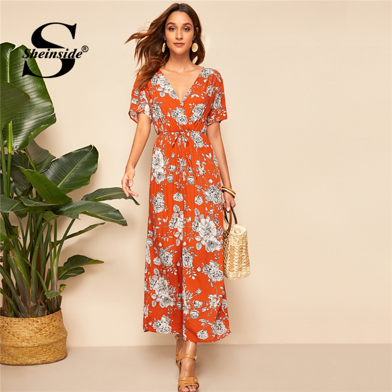 Sheinside Orange V Neck Wide Leg   Jumpsuit   Women 2019 Summer Boho Floral Print Trim   Jumpsuits   Ladies Backless V-cut   Jumpsuit
