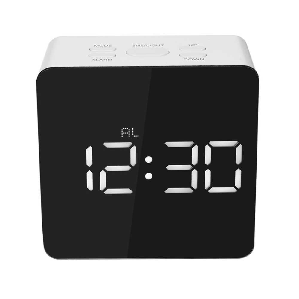 Цифровое зеркало часы современный деревянный цифровой светодиодный ночник Настольный будильник с термометром таймер календарь Настольный Декор
