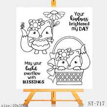 AZSG Cute little fox Clear Stamps For DIY Scrapbooking Rubber Stamp/ Seal Paper Craft Clear Stamp Card Making winter fox clear stamp set lawn fawn
