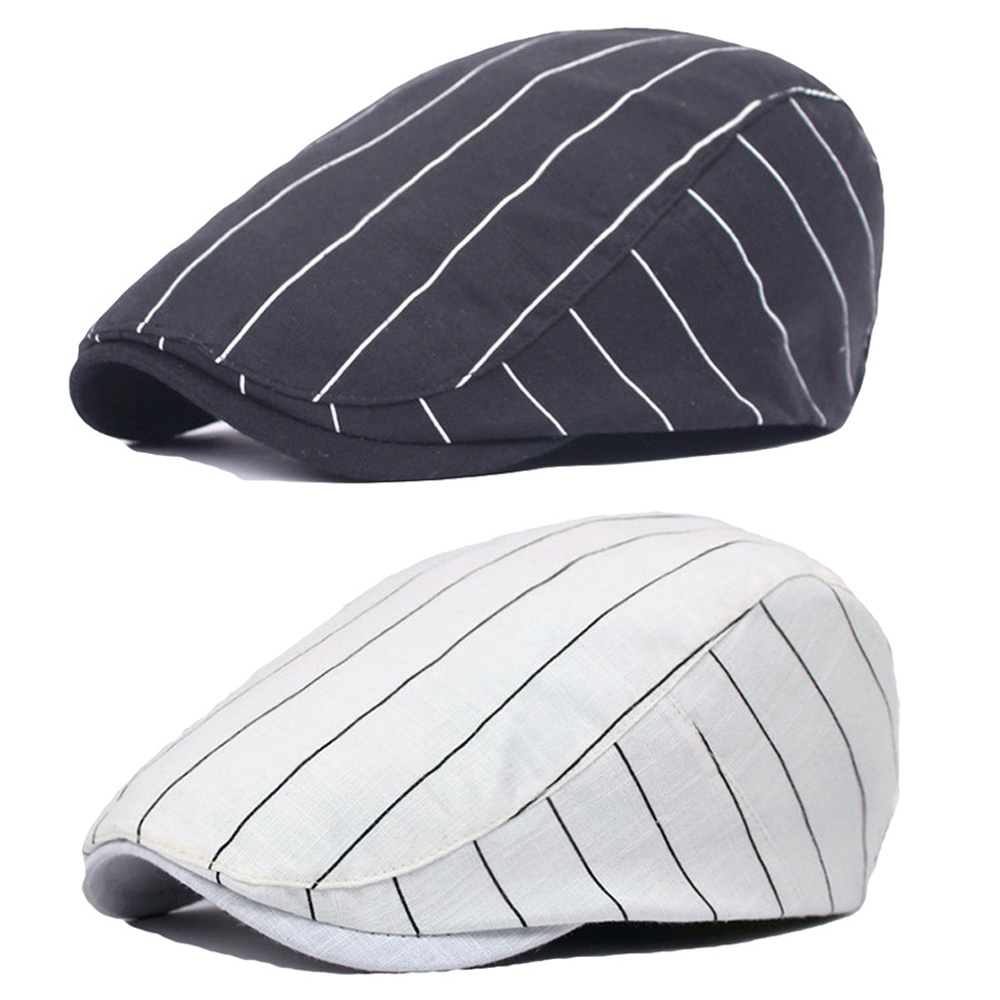 Men Women Classic Striped Driving Golf Hat Adjustable Casual Newsboy Beret Cap
