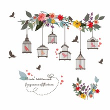 Colorful Flower Birds Birdcage Wall Sticker Decals Art For Home Living Room Bedroom TV Background Garden Window Decor