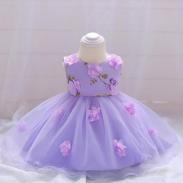Nouveau-né Fille Robe De Baptême Robe de Fête D'anniversaire Floral Robe Bébé Robe Vêtements Princesse Tutu Pétale Robe Enfant En Bas Âge Vêtements