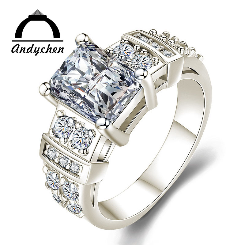 AndyChen White Gold Color Engagement Rings 13# for Women Wedding Blue AAA Zircon Fashion Jewelry Bague Bijoux Size 5-12