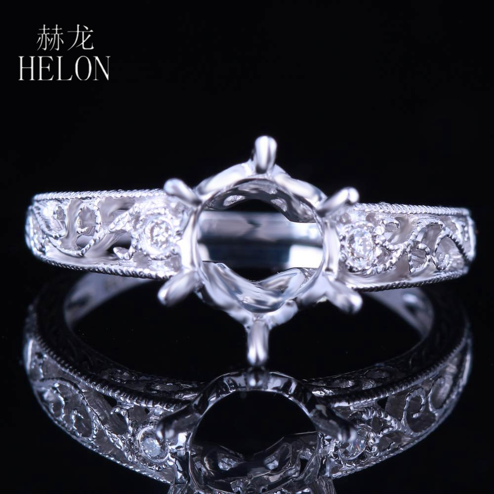 HELON 7.5-8mm Round Solid 14K White Gold VS Natural Diamonds Vintage Antique Filigree Semi Mount Engagement Wedding Party Ring
