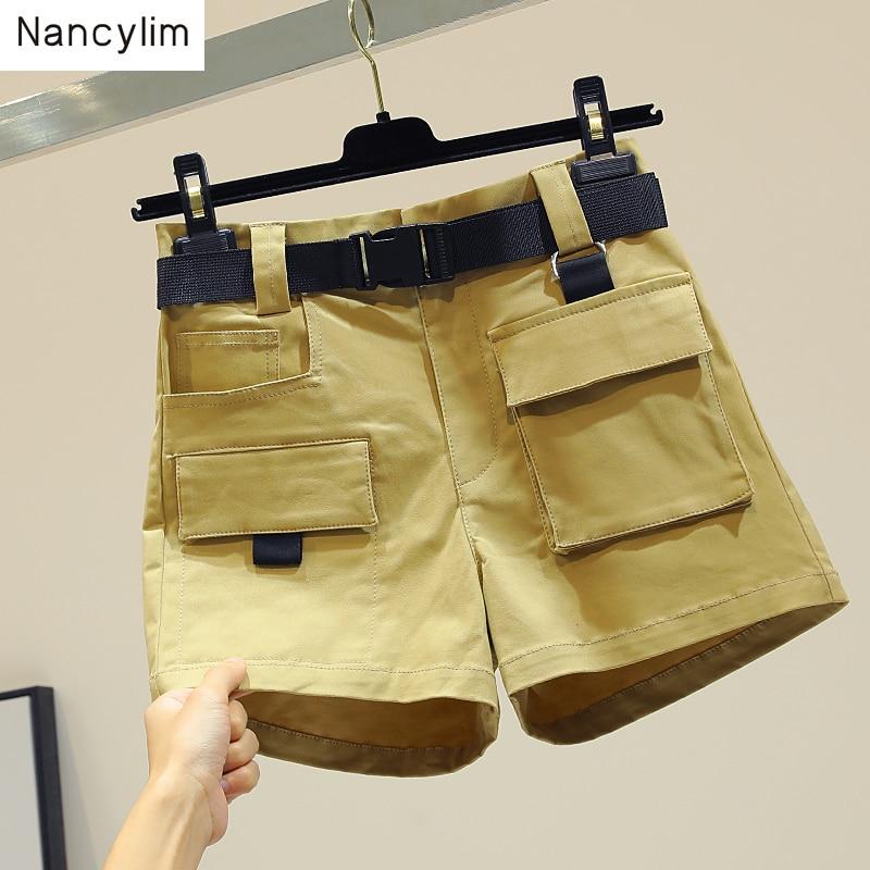 Women 2019 Summer New Korean Thin Large Pockets High Waist Short   Pants   Casual   Wide     Legs     Pants   Trousers Women