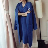Sweater Skirt Suit Women S Autumn And Winter Loose Coat Long Knitted Cardigan Two Piece Korean