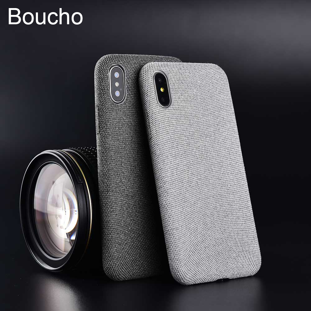 Boucho Cloth Texture Phone <font><b>Case</b></font> for <font><b>iPhone</b></font> <font><b>6</b></font> 6S Plus 7 8 Plus 8plus Shockproof <font><b>Bumper</b></font> Phone <font><b>Case</b></font> for <font><b>iPhone</b></font> XS Max XR XS X Coque image