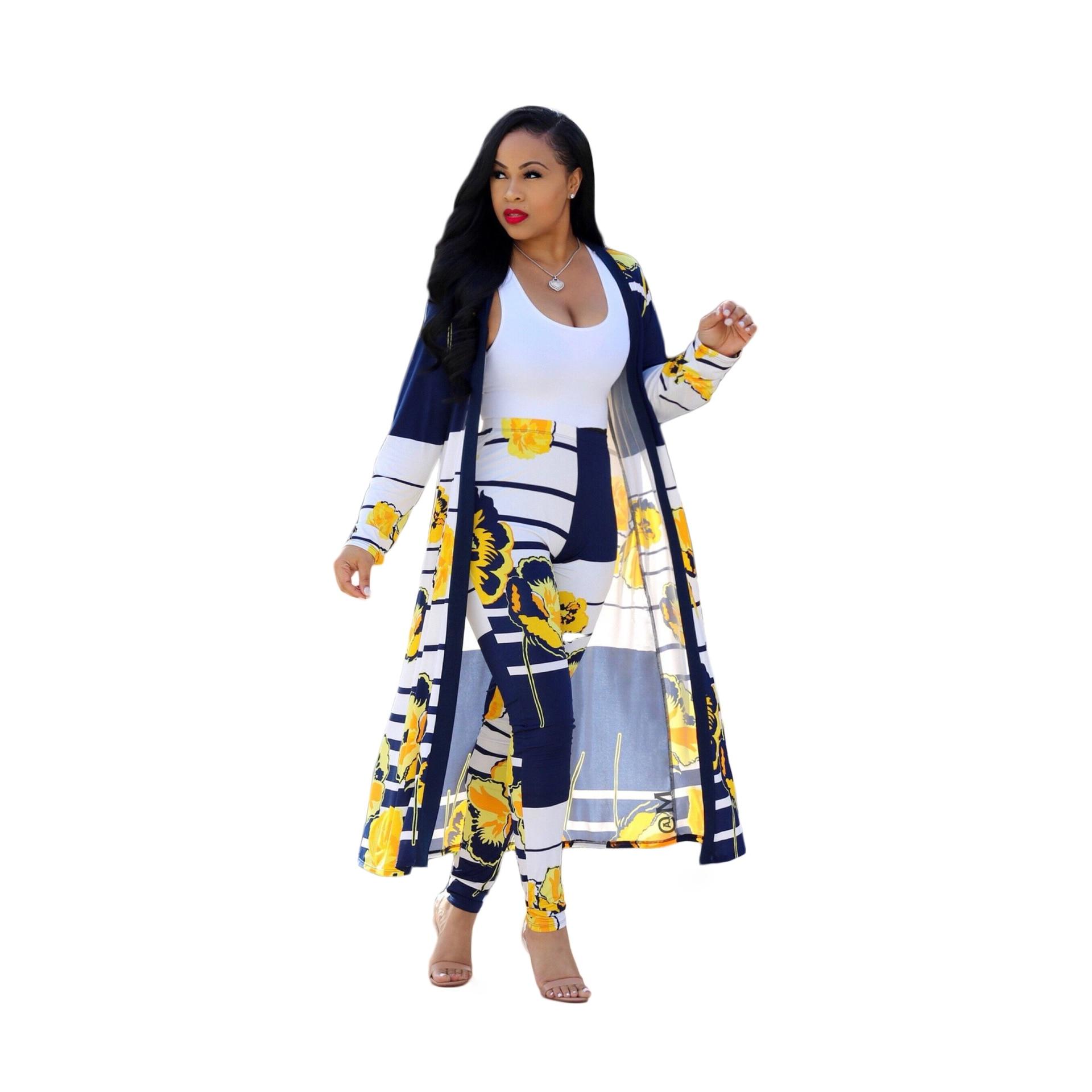 Women 2pcs Ponchos Autumn Patchwork Long Sleeve Overcoat Female Yellow Blue Loose Capes Women Open Stitc Suit and long pants Set