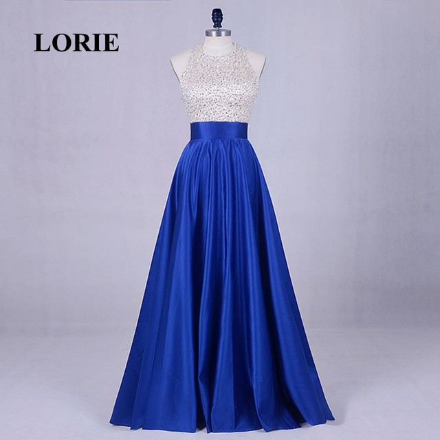 ca59b0528a LORIE Evening Party dress for Graduation Halter Beaded A-Line Royal Blue  Prom Dress Satin Floor Length Special Occasion Gowns