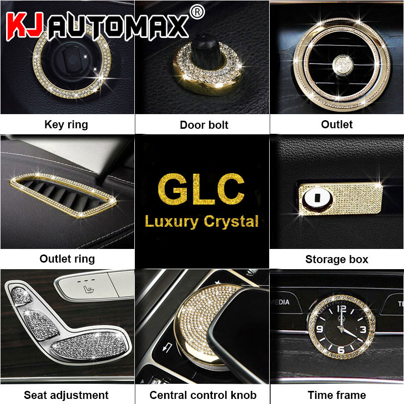 KJAUTOMAX For <font><b>Mercedes</b></font> Benz gla200 <font><b>cla200</b></font> gla220 AMG Crystal Decoration Car Styling <font><b>Door</b></font> bolt Lid Logo Air conditioning knob image