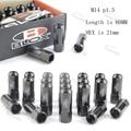 JDM M14 * 1.5 20 Peças Conjunto NOVO Estilo L: 60mm Abrir terminou Blox Forged 7075 Alumínio porcas Da Roda porcas Da Roda Preta