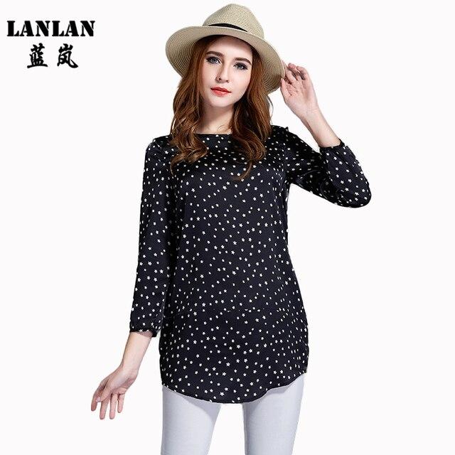 LANLAN L-5XL Plus size Spring Casual Blusa 2016 New Loose Tops Camisas Femininas Stars Print Shirt 3XL 4XL 5XLWomen Blouses