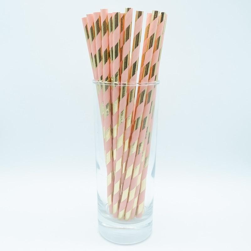 Baby Shower Metallic Foil Rose Gold Paper Straws ~ Wedding Birthday Party