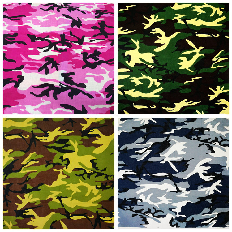 100% Cotton Camouflage Square Hip Hop Headwear/Hair Printed Bandanas Foulard Neckerchief Square Scarf for Women/Men/Boys/Girls