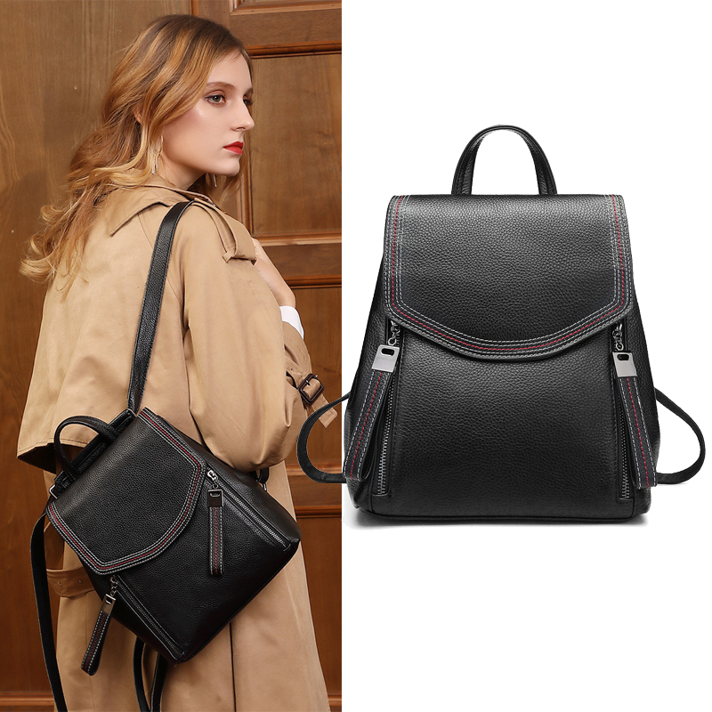 Summer Soft Leather European And American Backpacks Real Cowhide Shoulder Bag Simple Genuine Leather Backpacks