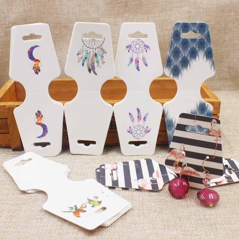 New Arrived 100pcs 4.5x12.0cm Colorful Paper Cards Printing Jewelry Necklace Bracelet Hang Tag Jewelry Display Cards Label Tag